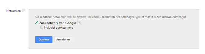zoekpartners uitvinken in Adwords