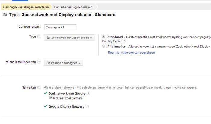 zoeknetwerk met display selectie kiezen in Google Adwords?