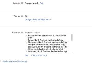 locatie targetting adwords
